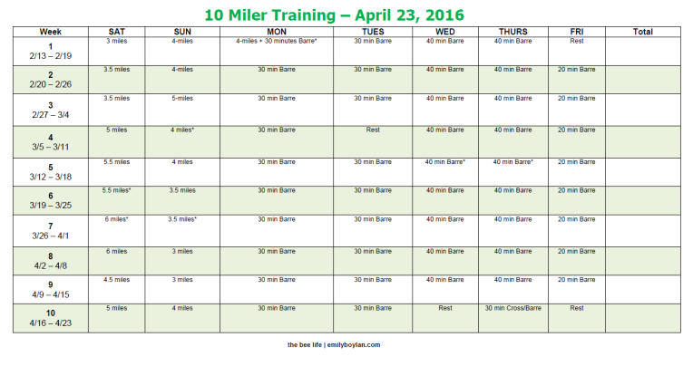 10 Miler Training - the bee life