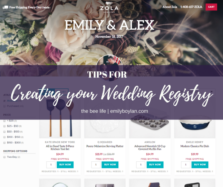 Wedding Registry Tips - the bee life